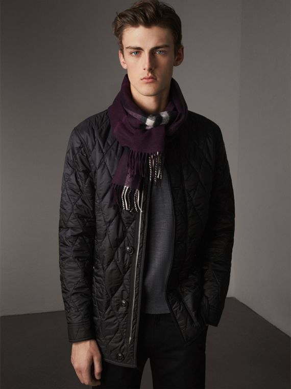 The Classic Check Cashmere Scarf in Aubergine | Burberry - cell image 3