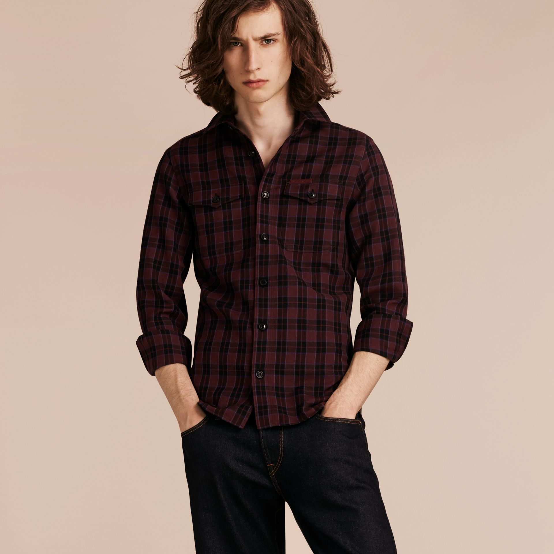 Burgundy red Black Watch Check Wool Blend Shirt Burgundy Red - gallery image 6