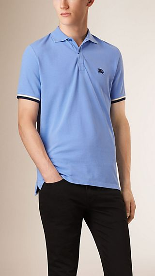 Contrast Cuff Cotton Piqué Polo Shirt