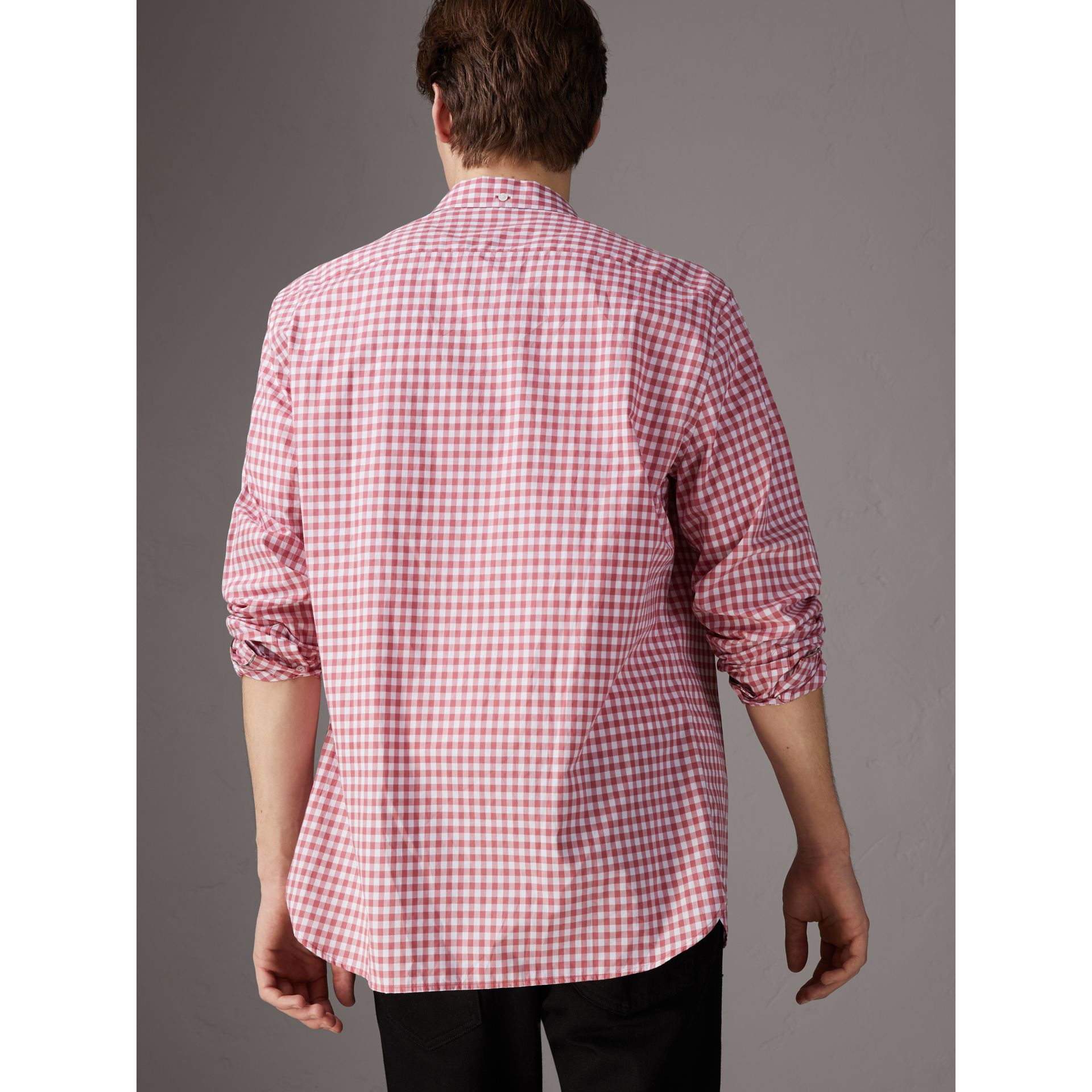 Button-down Collar Gingham Cotton Shirt in Pink Azalea - Men | Burberry United Kingdom - gallery image 2