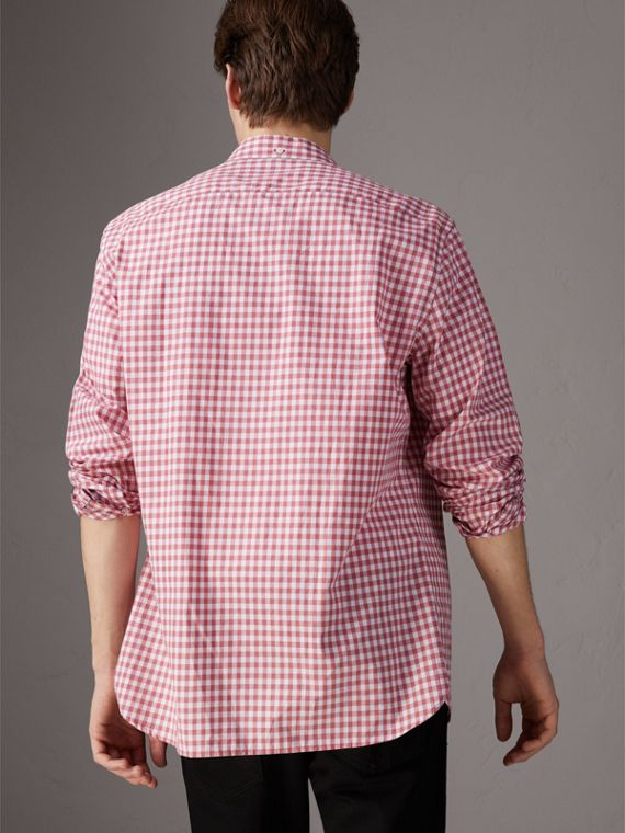 Button-down Collar Gingham Cotton Shirt in Pink Azalea - Men | Burberry United Kingdom - cell image 2