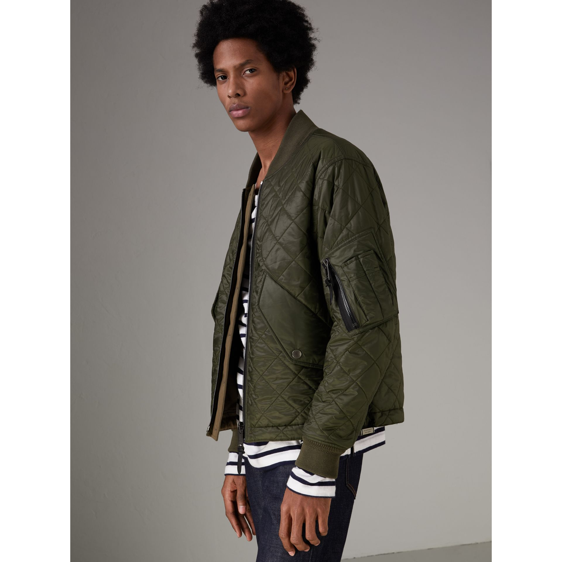 Reversible Quilted Bomber Jacket in Military Khaki - Men | Burberry Hong Kong - gallery image 4