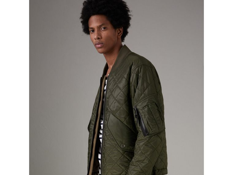 Reversible Quilted Bomber Jacket in Military Khaki - Men | Burberry - cell image 4
