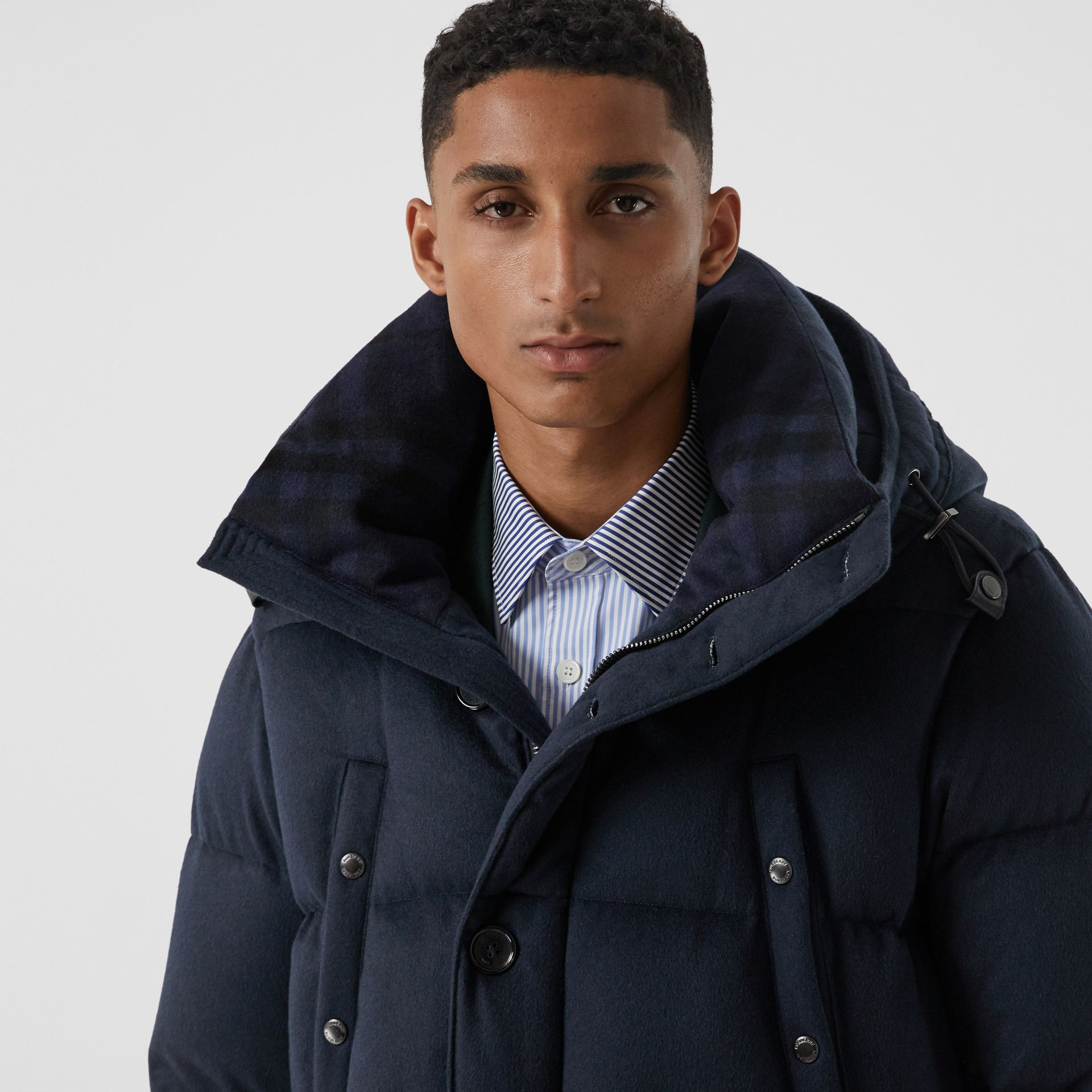 Cashmere Hooded Puffer Coat in Navy - Men | Burberry - gallery image 5