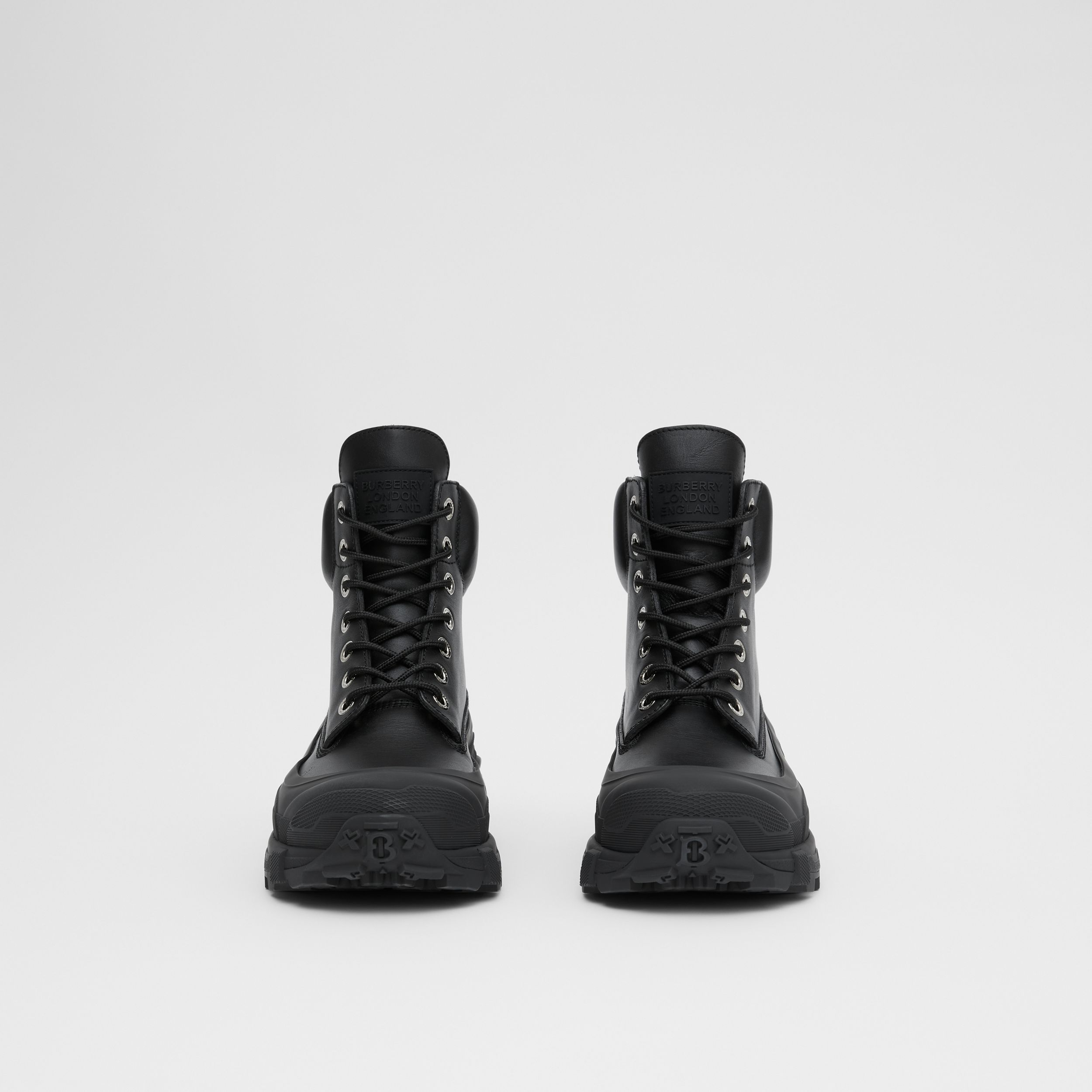 Contrast Sole Leather Boots in Black - Men | Burberry - 4