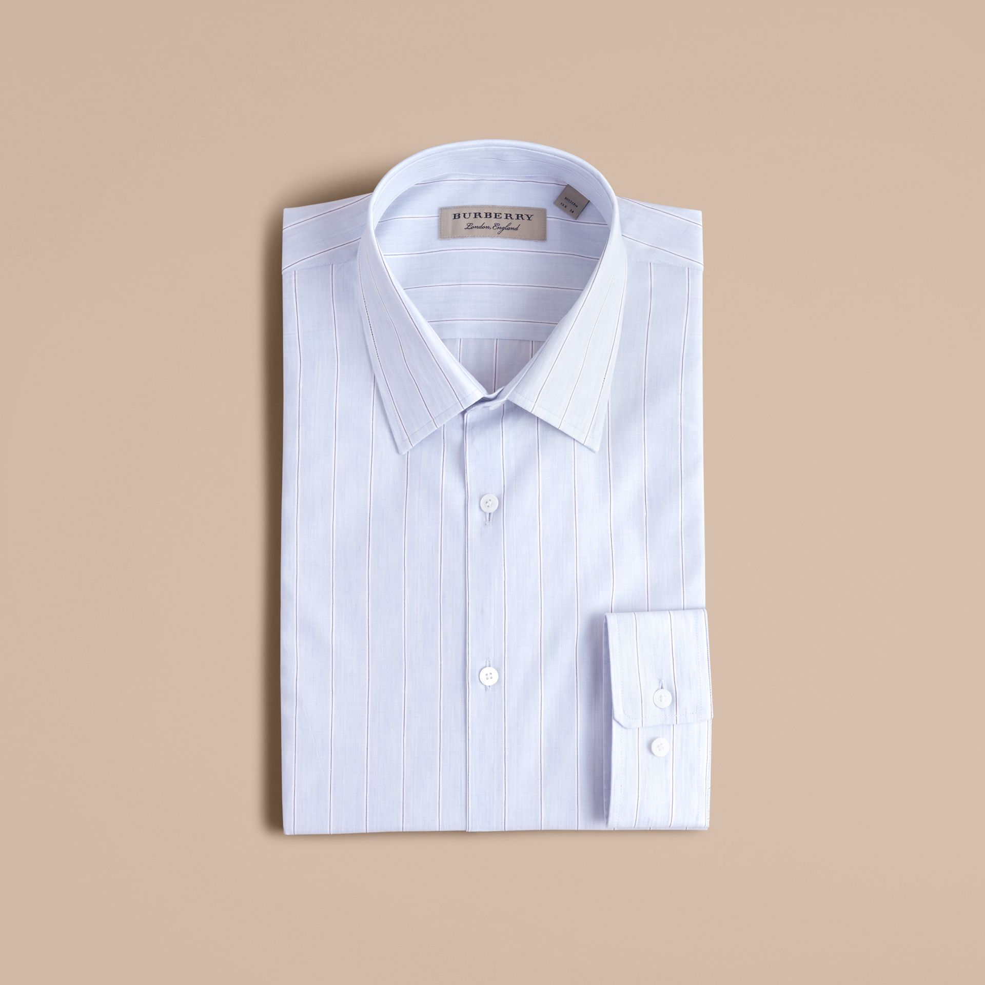 Modern Fit Cotton Linen Striped Shirt in Pale Opal Blue - Men | Burberry - gallery image 3