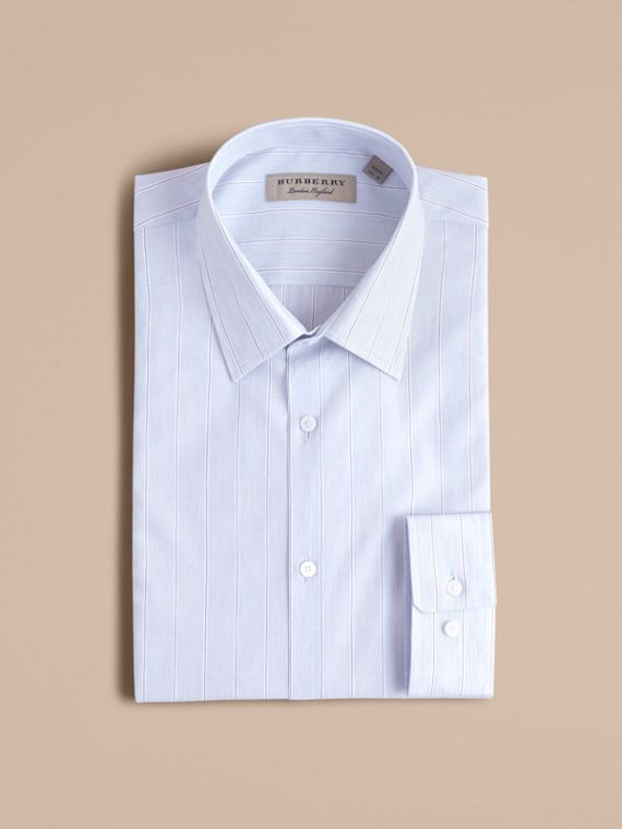 Modern Fit Cotton Linen Striped Shirt in Pale Opal Blue
