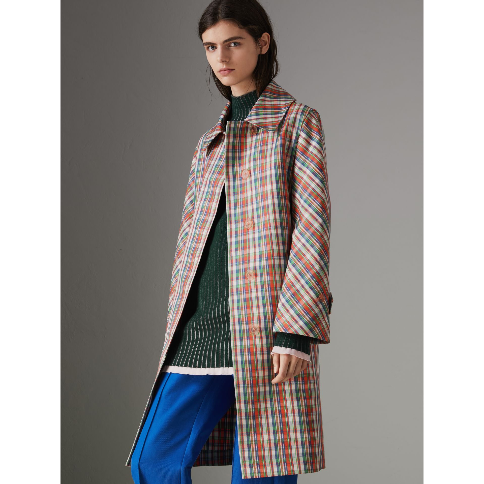 Micro Check Silk Blend Car Coat in Bright Red - Women | Burberry - gallery image 5