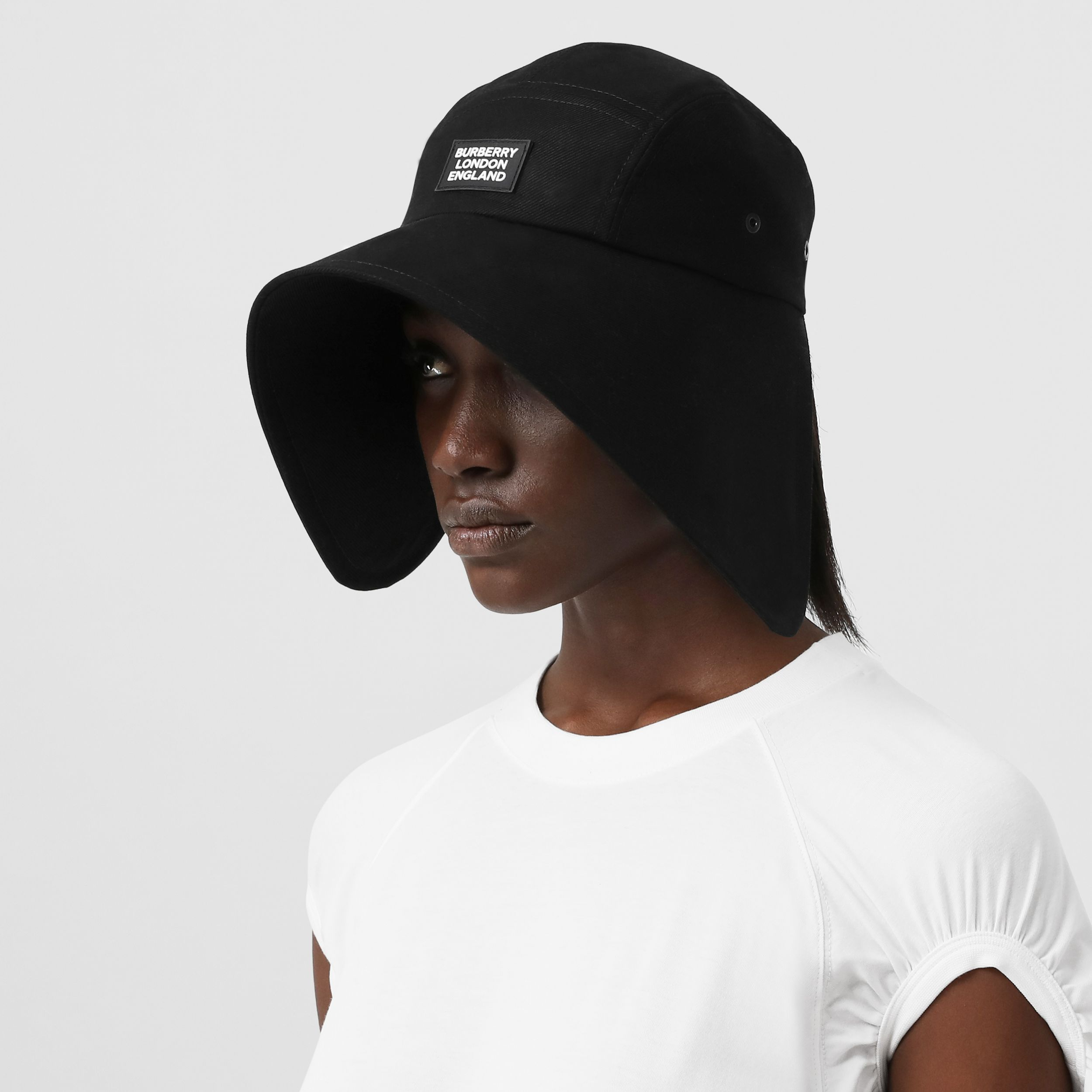 Logo Appliqué Cotton Twill Bonnet Cap in Black | Burberry - 3