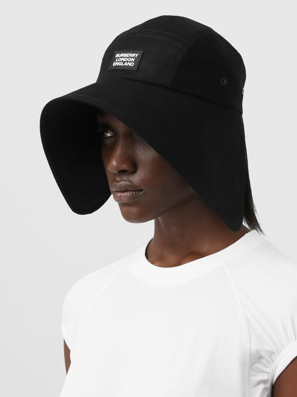 Logo Appliqué Cotton Twill Bonnet Cap in Black | Burberry United Kingdom - cell image 2