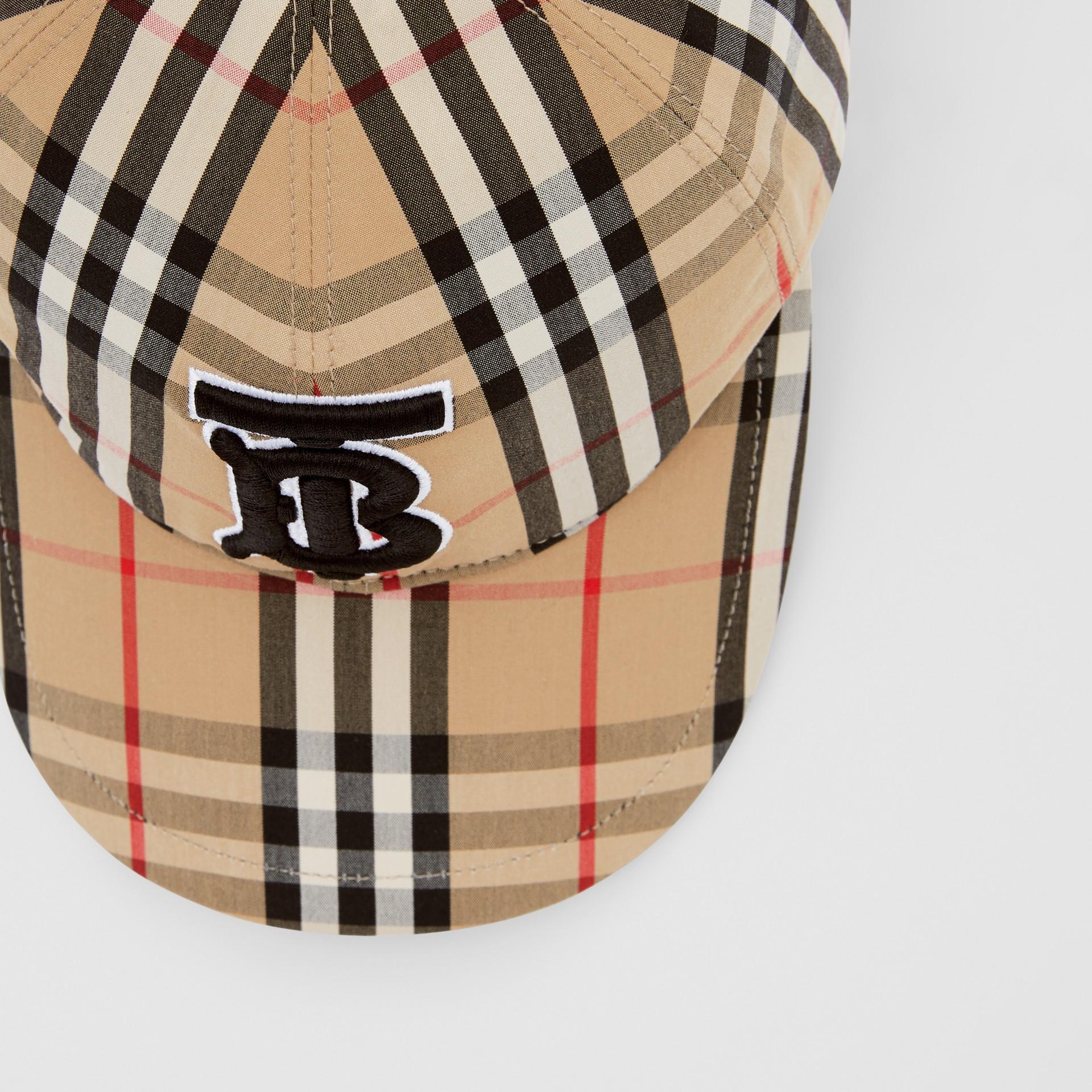 Monogram Motif Vintage Check Cotton Baseball Cap in Archive Beige | Burberry United Kingdom - gallery image 1