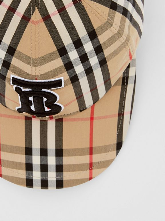 Monogram Motif Vintage Check Cotton Baseball Cap in Archive Beige | Burberry United Kingdom - cell image 1