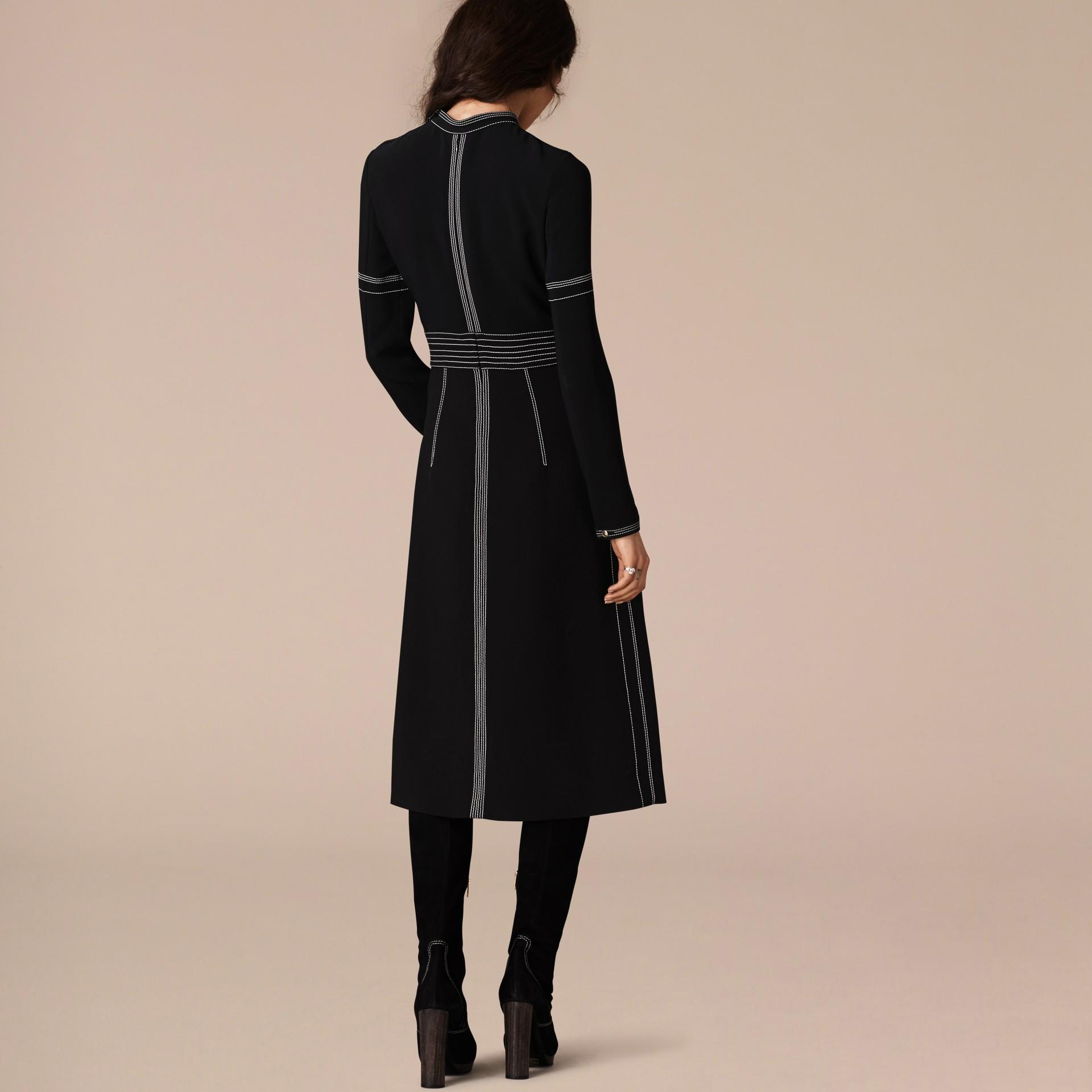 Black Regimental Wool Silk Shift Dress - gallery image 3