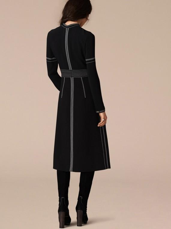 Black Regimental Wool Silk Shift Dress - cell image 2