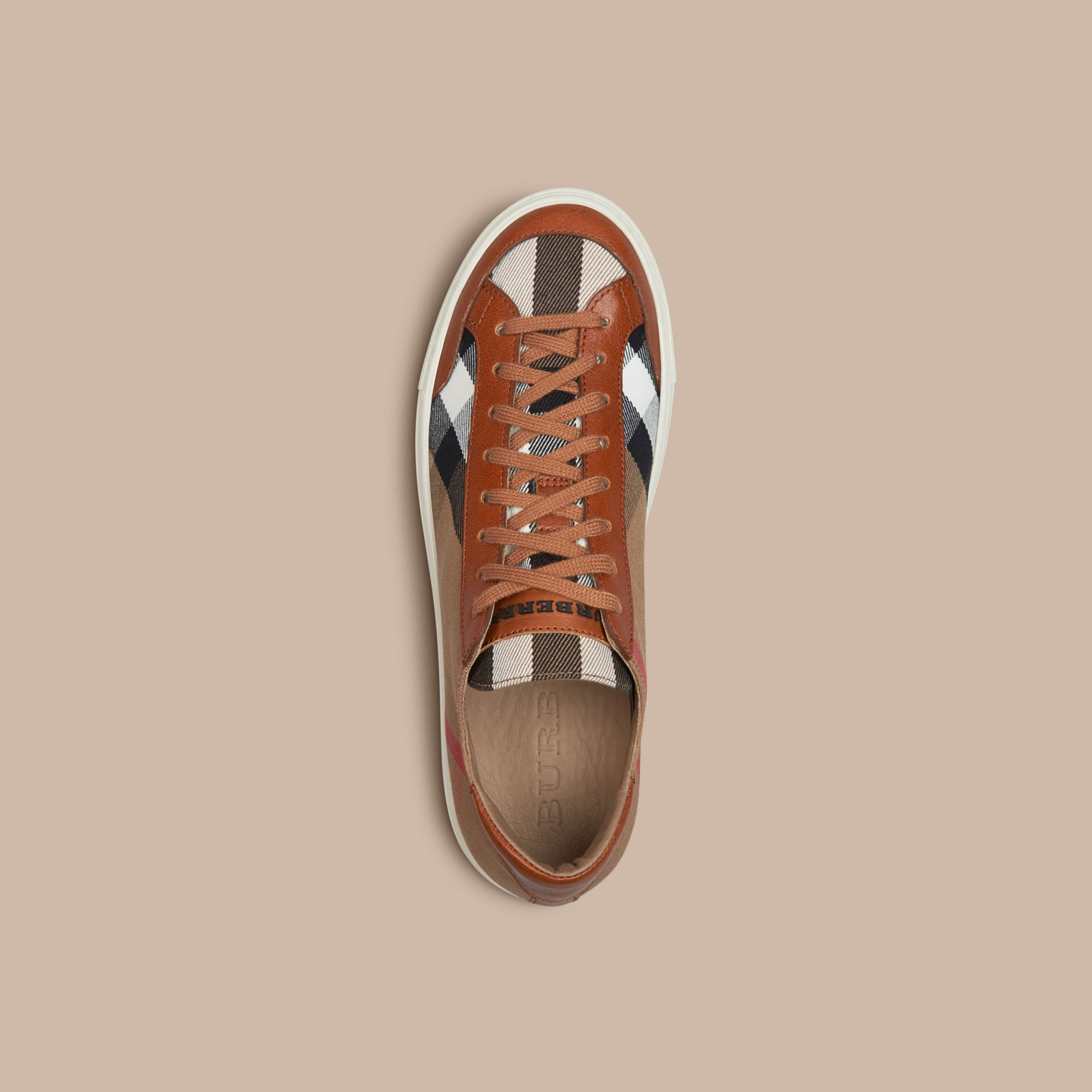 Tan House Check Canvas Trainers - gallery image 3