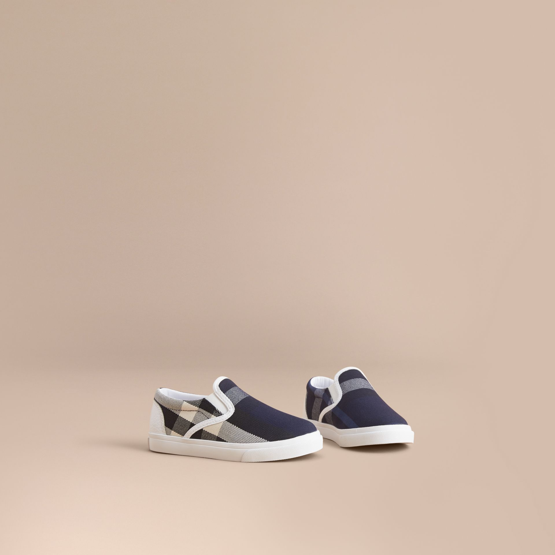 Tonal House Check and Leather Slip-on Trainers in Bright Sapphire | Burberry - gallery image 1
