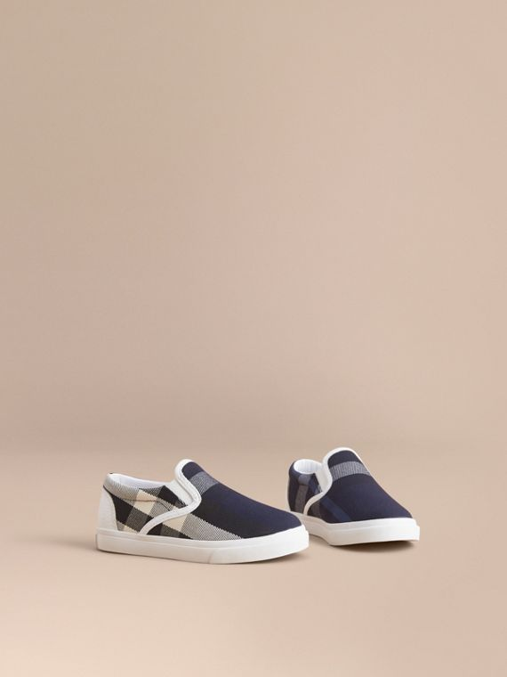 Tonal House Check and Leather Slip-on Trainers in Bright Sapphire | Burberry Singapore