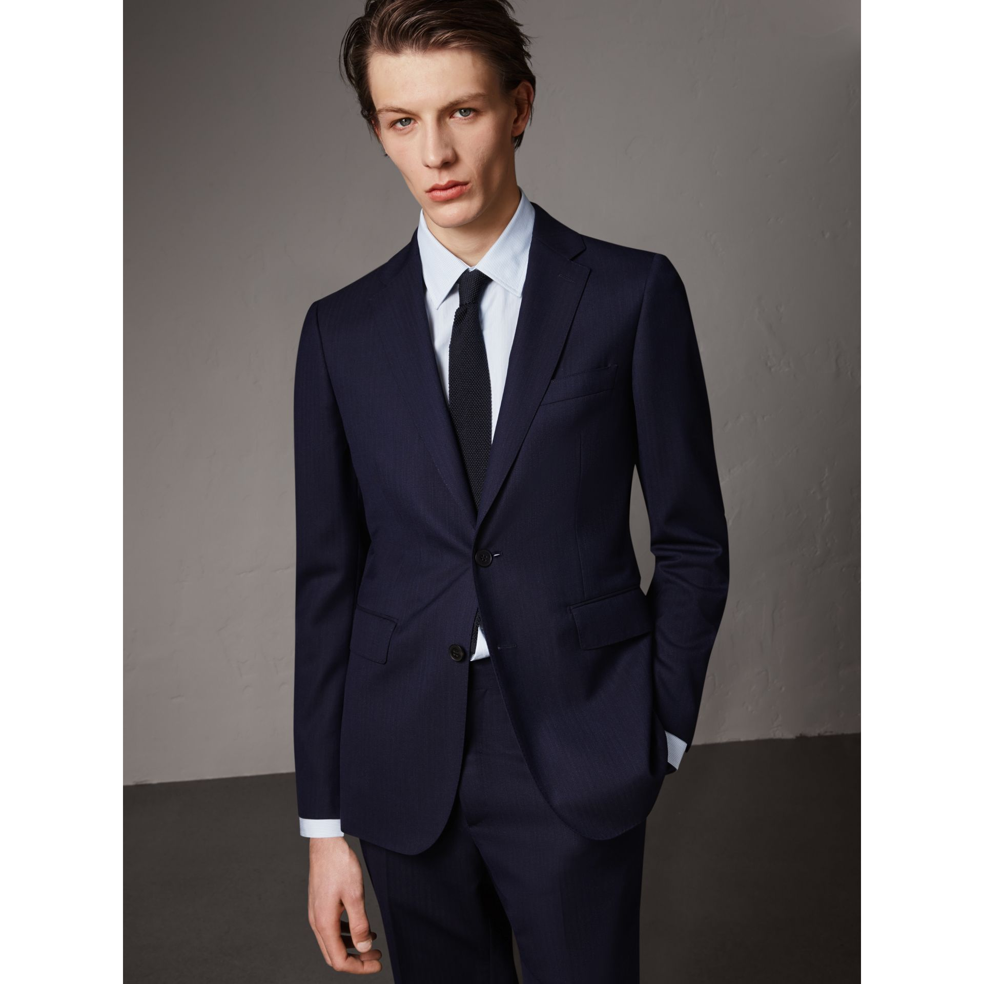 Soho Fit Herringbone Wool Suit in Navy - Men | Burberry United States - gallery image 6