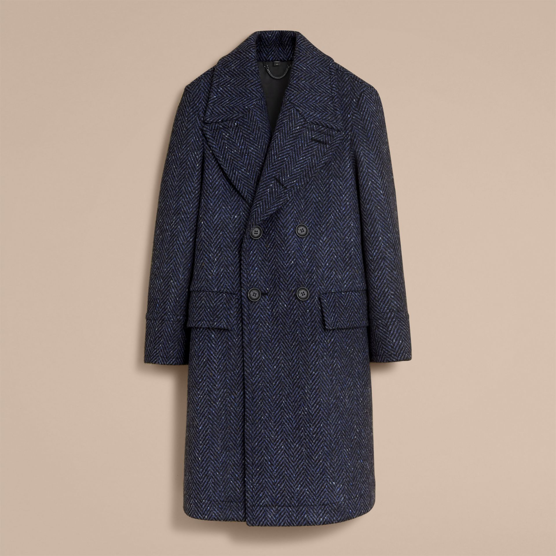 Donegal Herringbone Wool Tweed Topcoat - gallery image 4