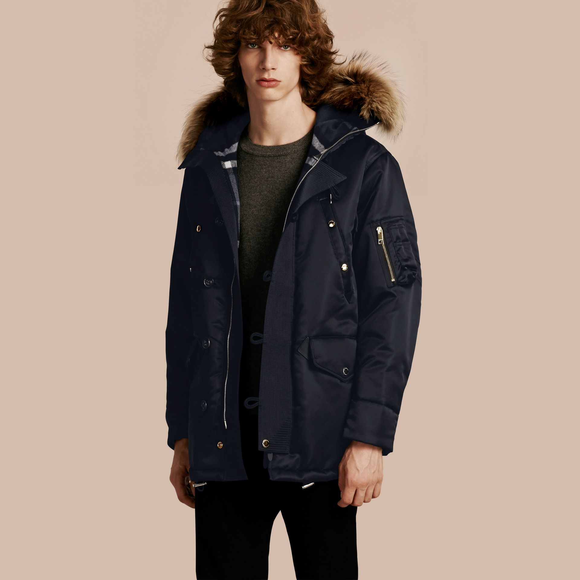 Navy Hooded Parka with Detachable Raccoon Trim - gallery image 1