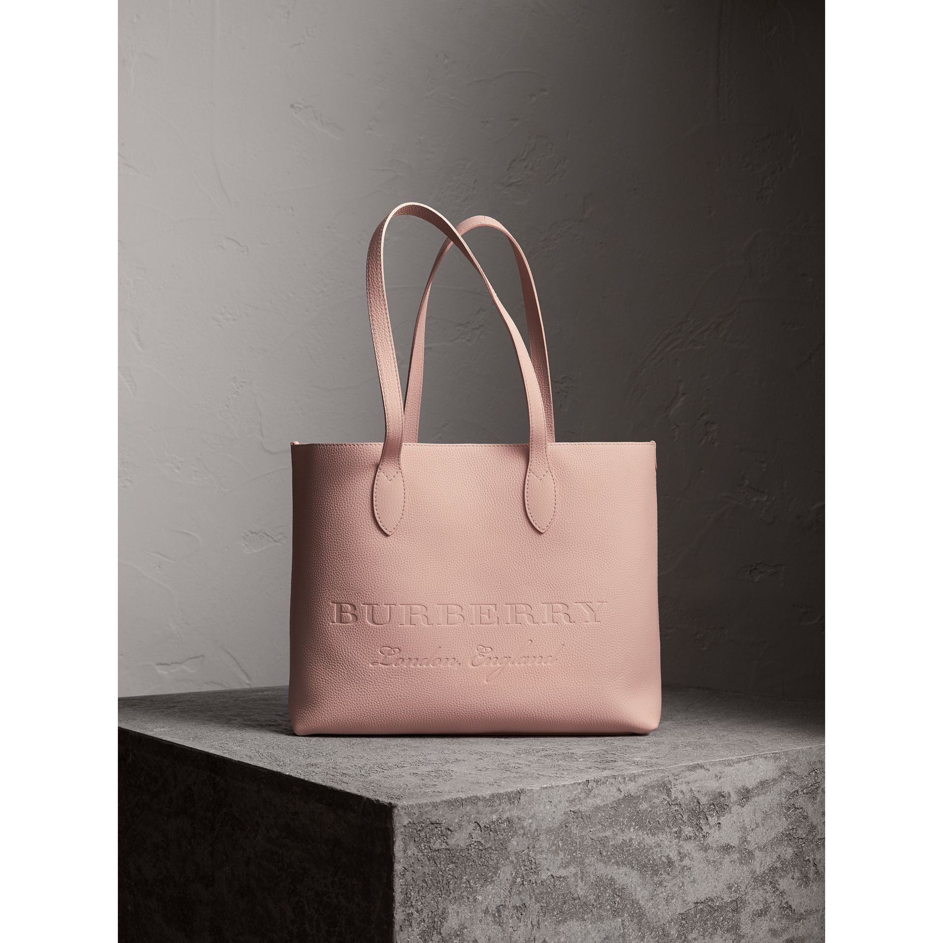 Large Embossed Leather Tote in Pale Ash Rose - Women | Burberry - gallery image 1