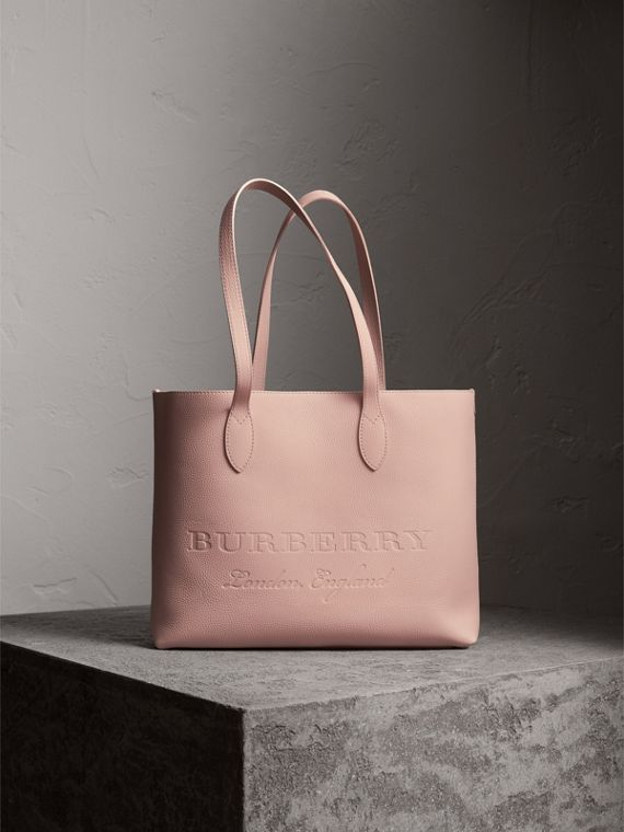 Large Embossed Leather Tote in Pale Ash Rose