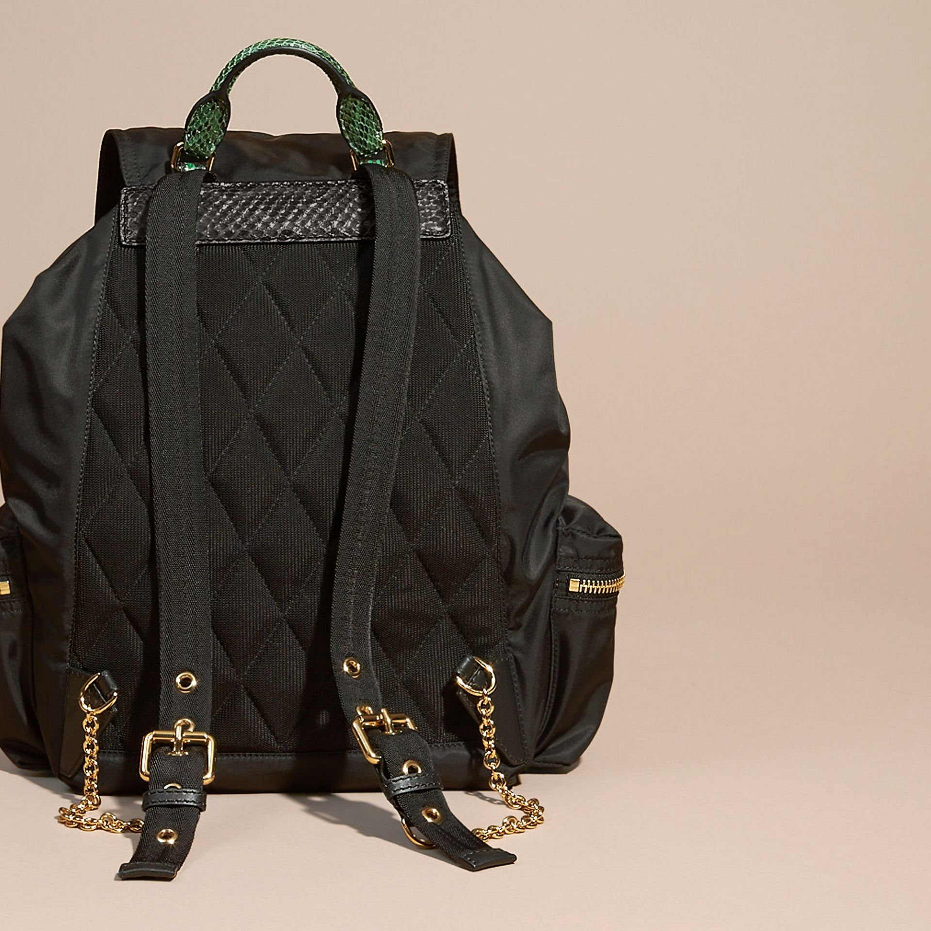 The Large Rucksack in Technical Nylon and Snakeskin Black/bright Green - gallery image 4