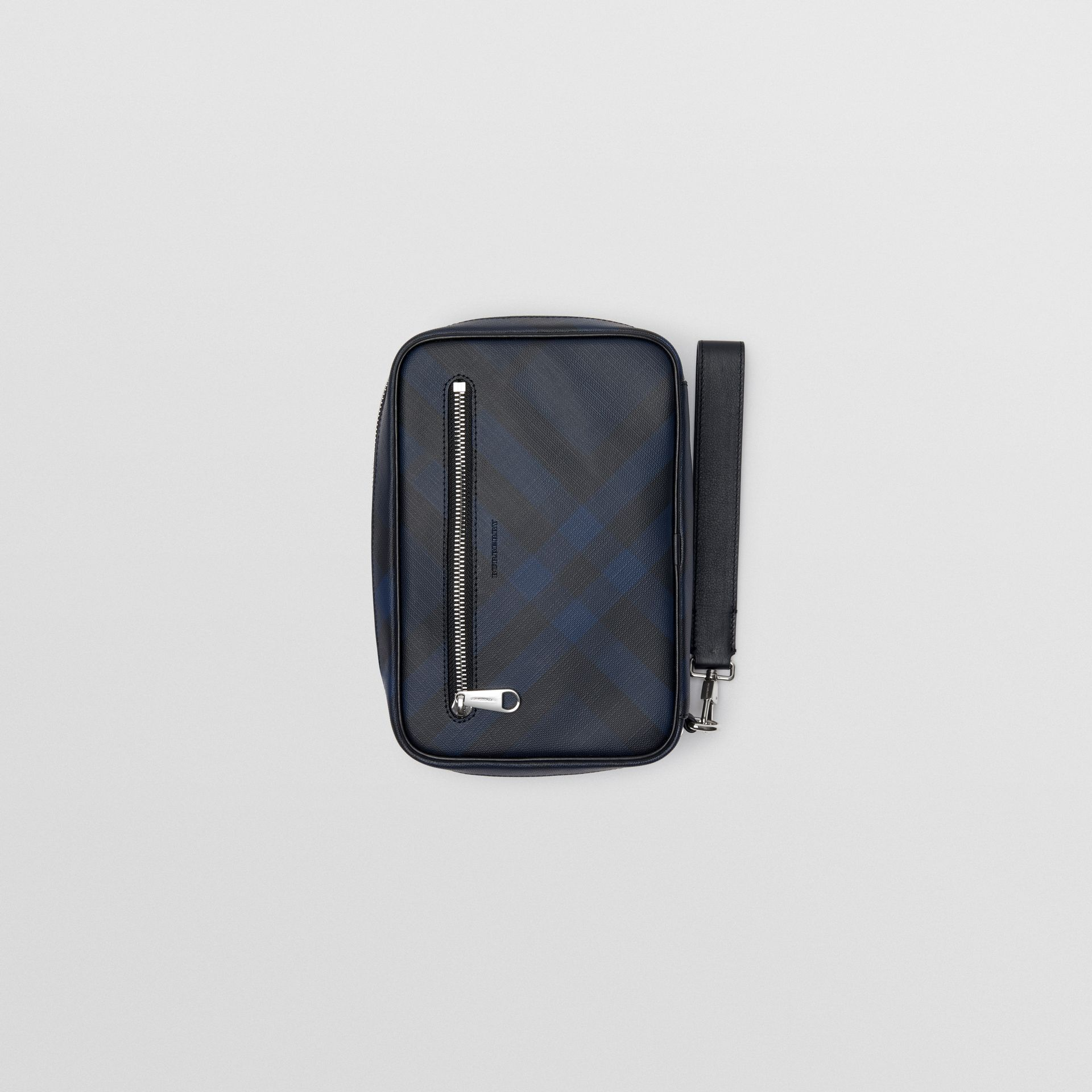 London Check Travel Pouch in Navy/black - Men | Burberry - gallery image 4