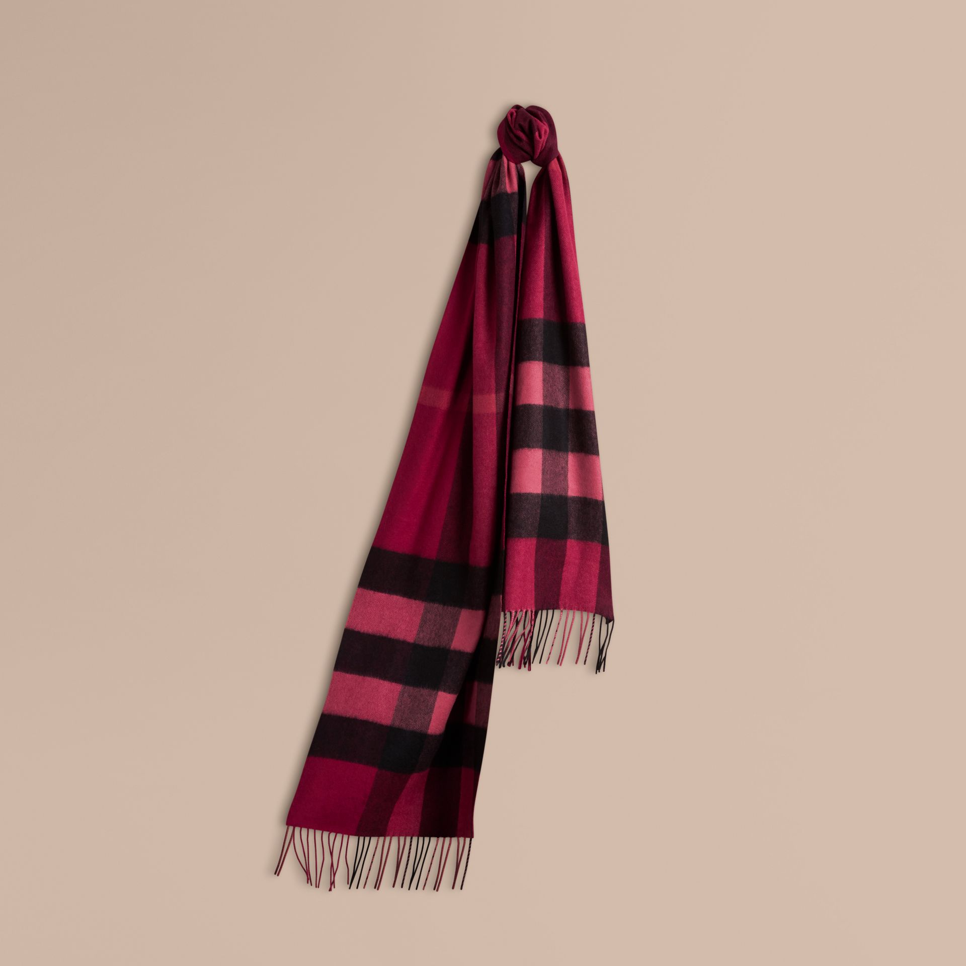 The Large Classic Cashmere Scarf in Check Plum - gallery image 6