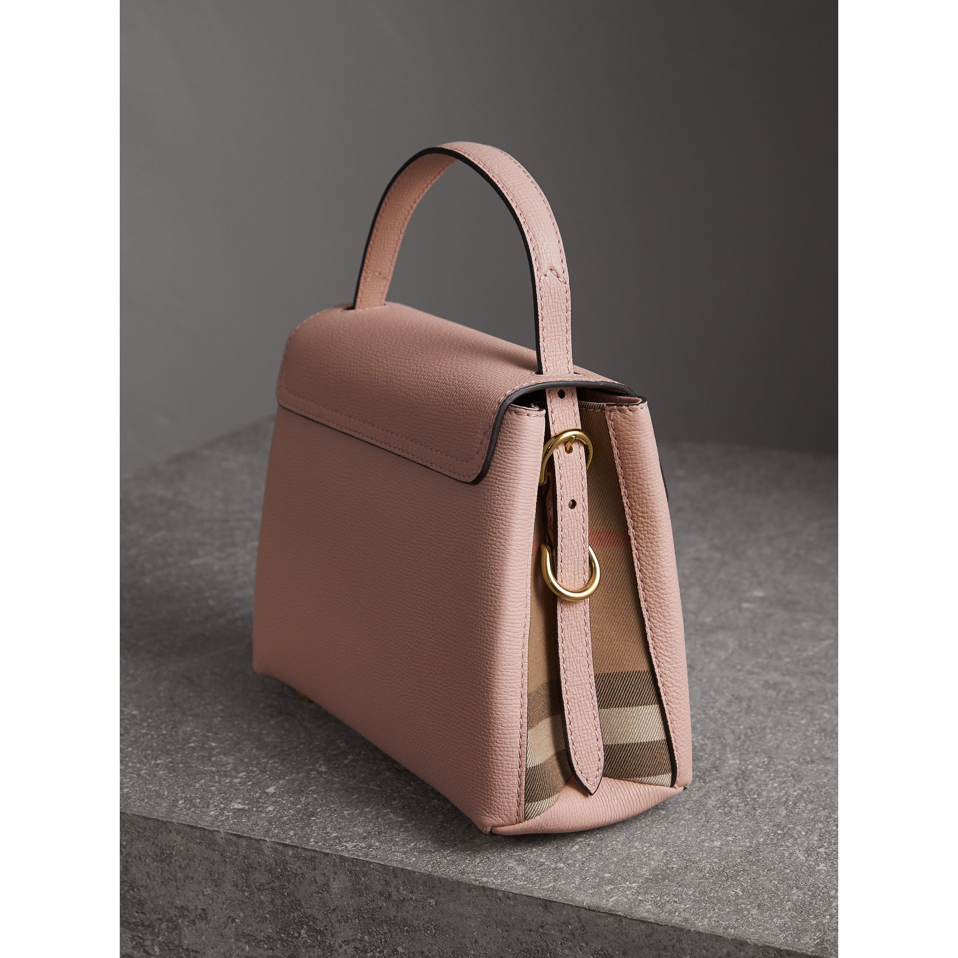 Small Grainy Leather and House Check Tote Bag in Pale Orchid - Women | Burberry - gallery image 4
