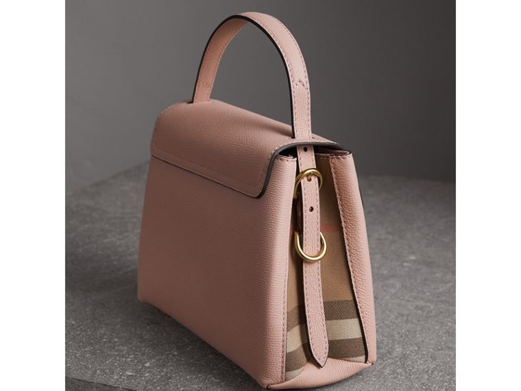 Small Grainy Leather and House Check Tote Bag in Pale Orchid - Women | Burberry - cell image 4