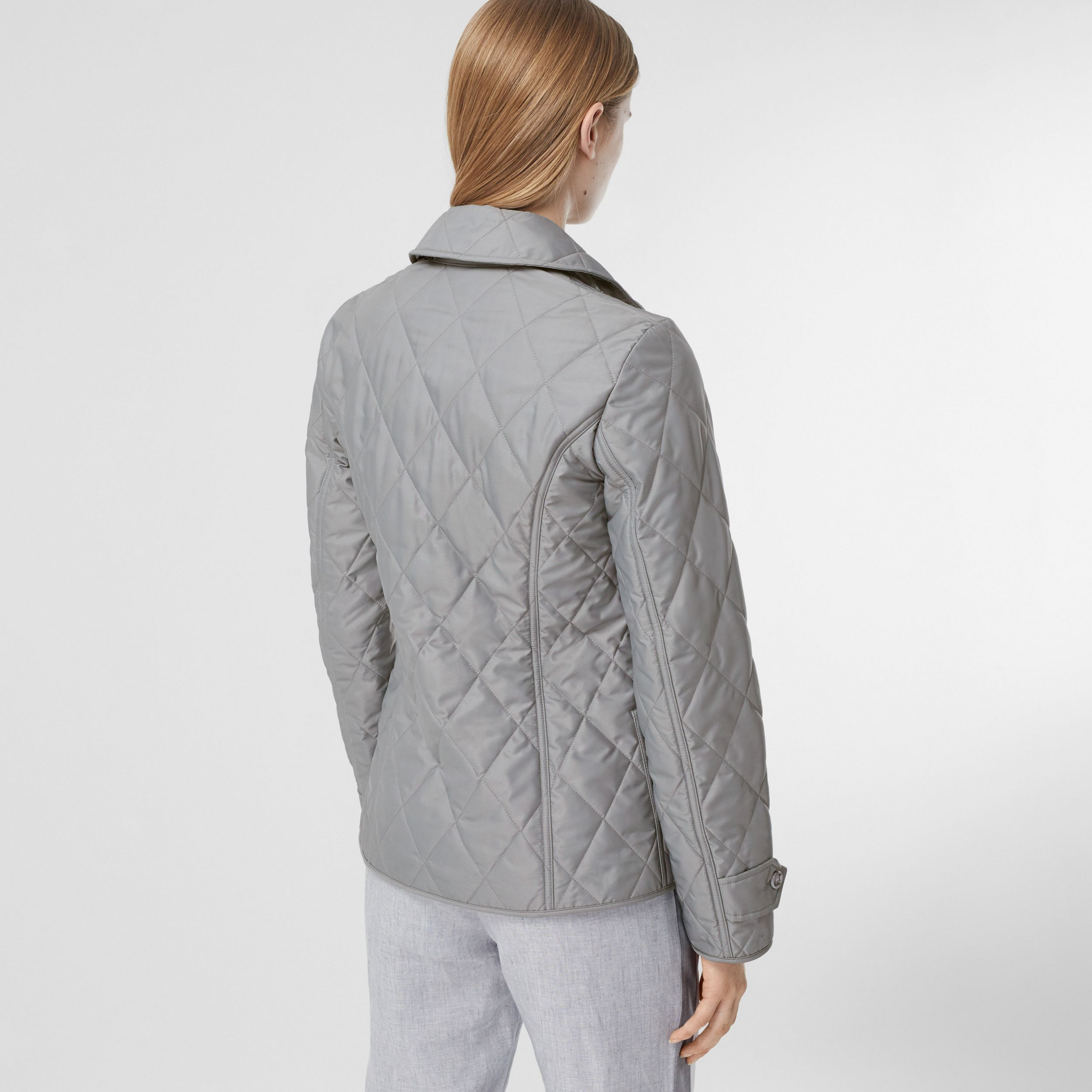 Diamond Quilted Thermoregulated Jacket in Mid Grey - Women | Burberry Australia - 3