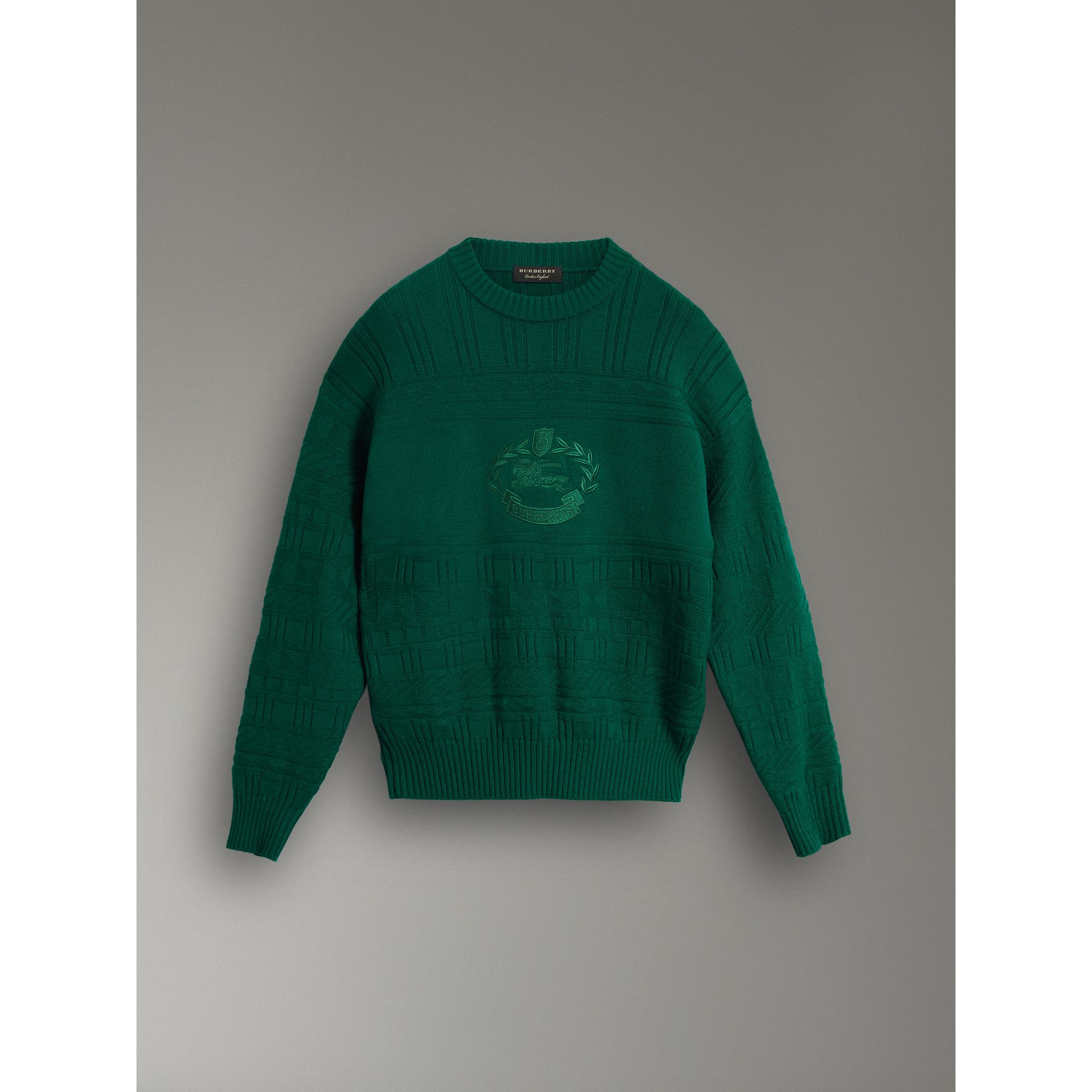 Reissued Wool Sweater in Dark Green - Men | Burberry United Kingdom - gallery image 3