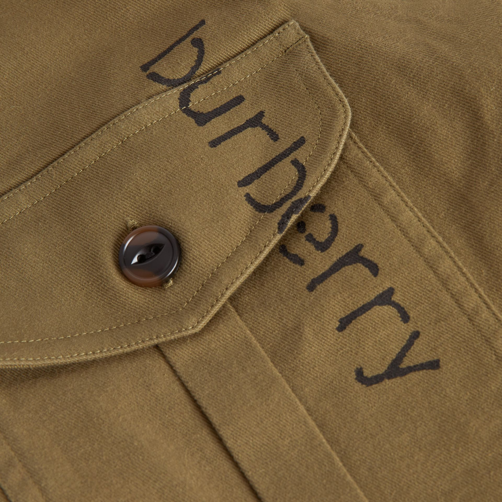 Stencil Print Cotton Wool Army Shirt in Olive | Burberry - gallery image 1