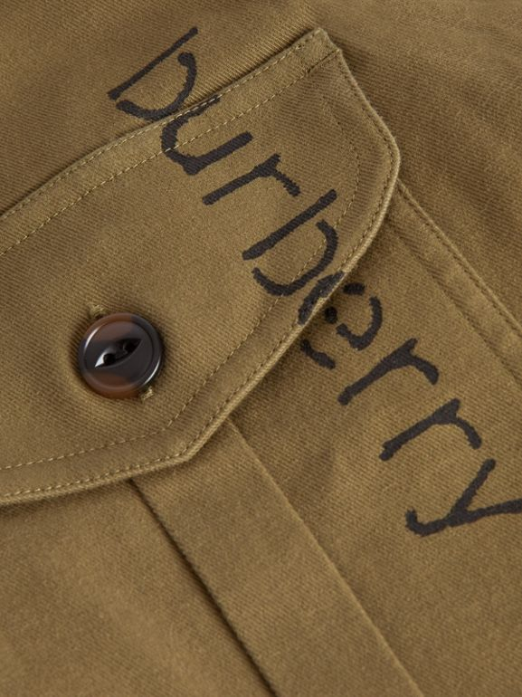 Stencil Print Cotton Wool Army Shirt in Olive | Burberry - cell image 1