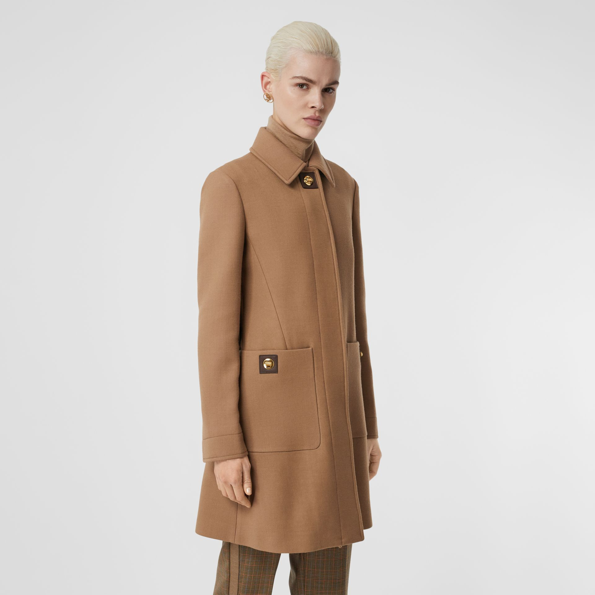 Double-faced Wool Tailored Coat in Fawn - Women | Burberry - gallery image 5