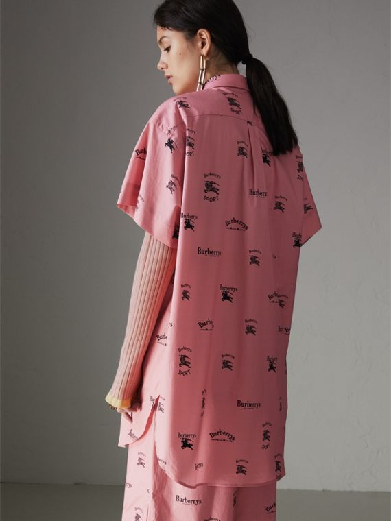 Short-sleeve Archive Logo Print Stretch-cotton Shirt in Pink - Women | Burberry - cell image 2