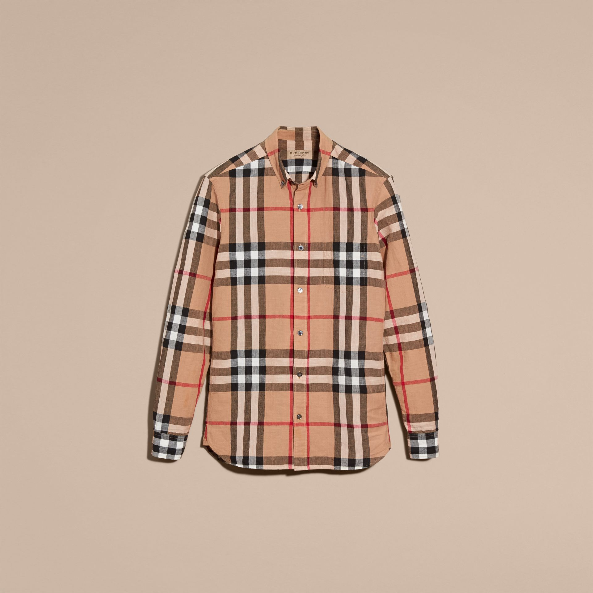 Button-down Collar Check Linen Cotton Shirt Camel - gallery image 4
