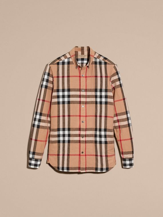 Button-down Collar Check Linen Cotton Shirt Camel - cell image 3