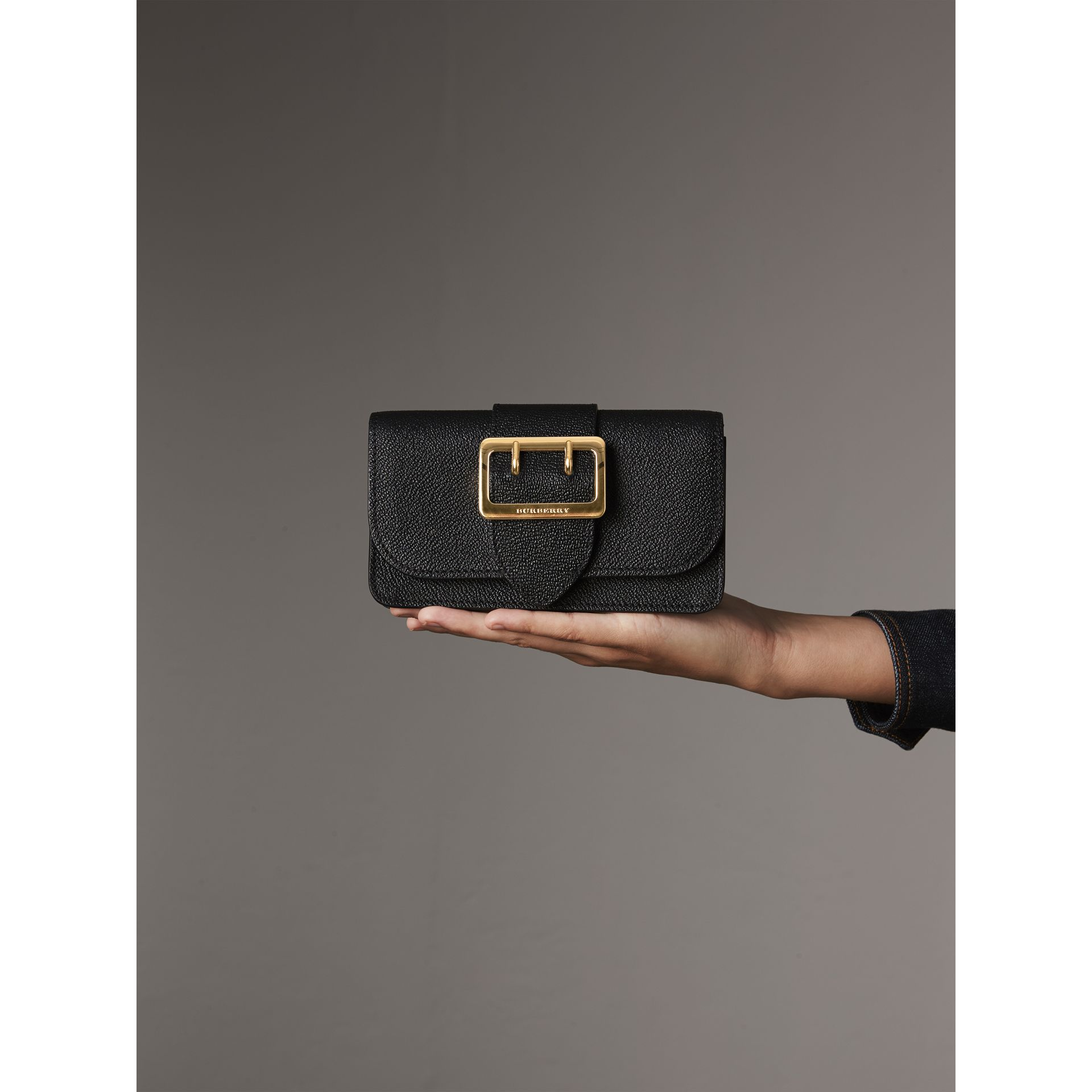 The Mini Buckle Bag in Grainy Leather in Black - Women | Burberry - gallery image 4