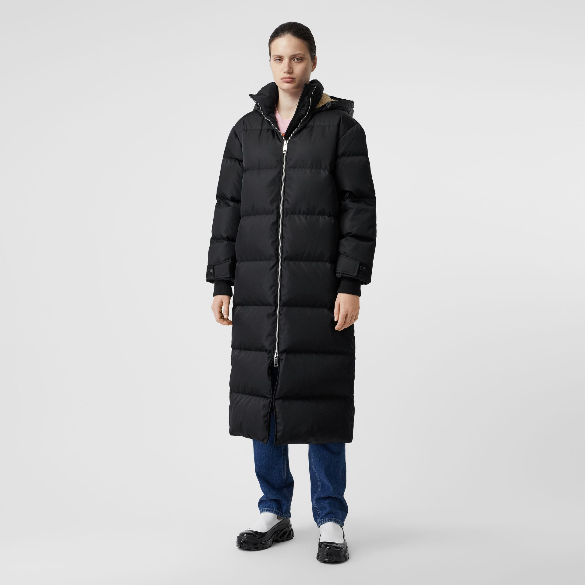 Logo Detail Puffer Coat in Black - Women | Burberry - gallery image 6