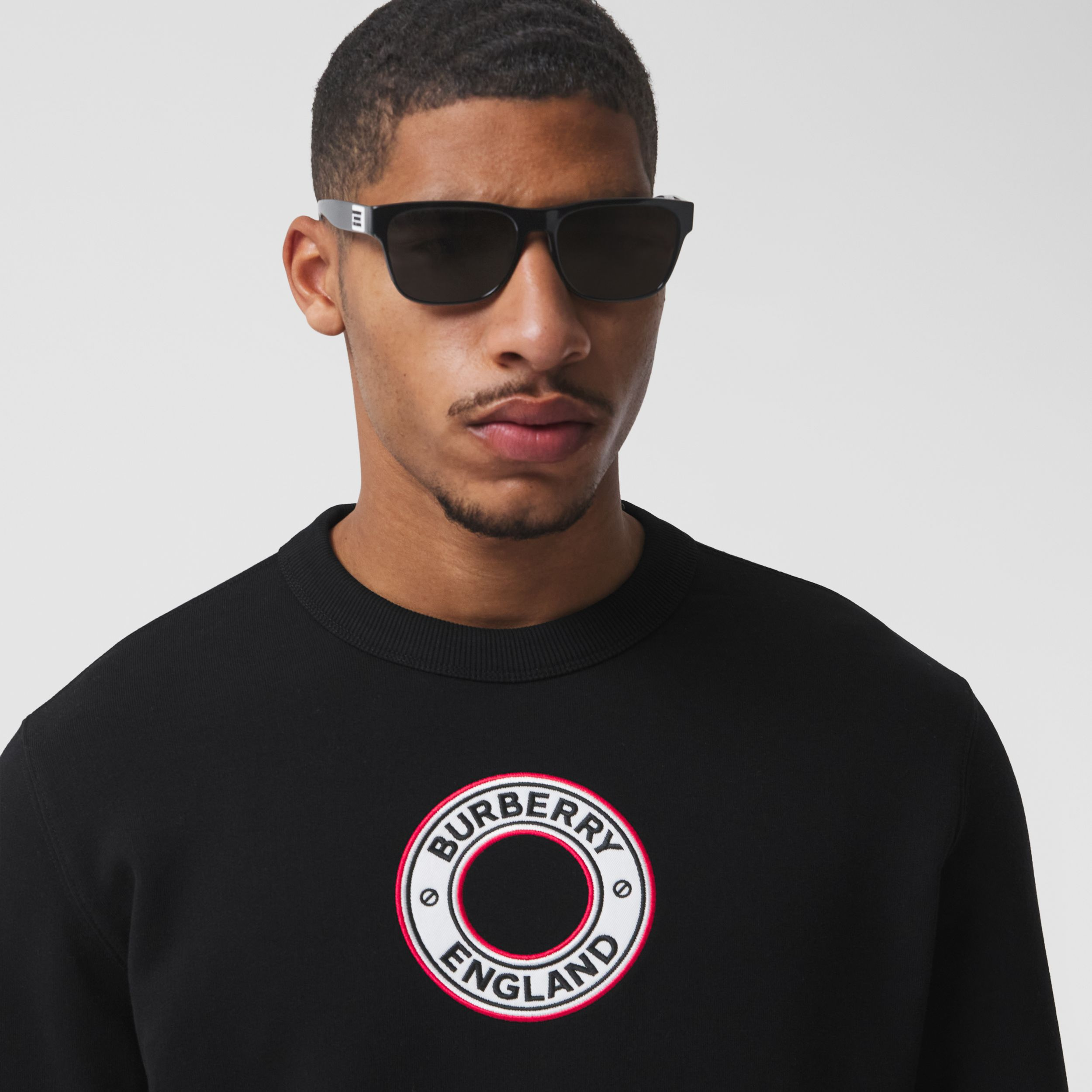 Logo Graphic Appliqué Cotton Sweatshirt in Black - Men | Burberry - 2