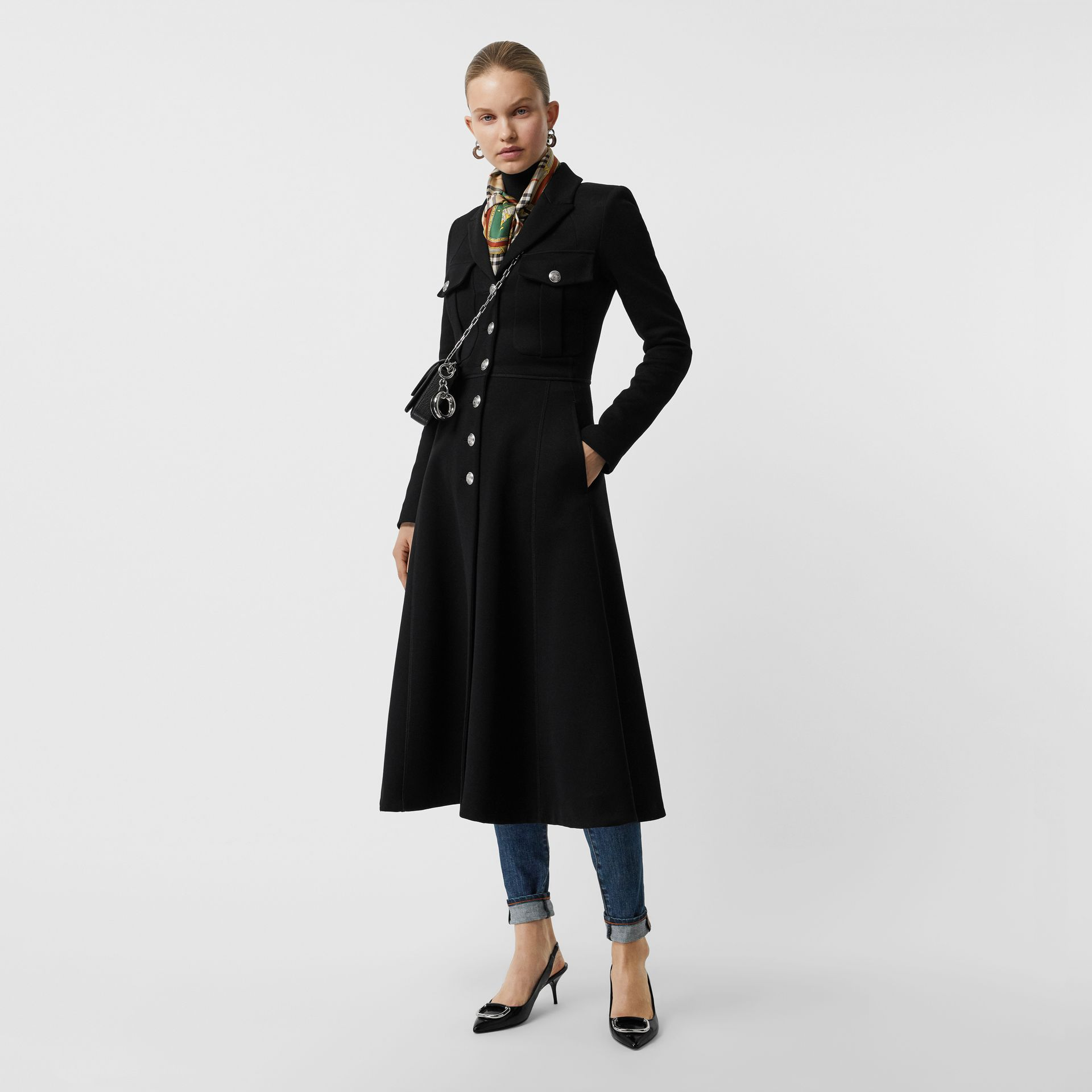 Bonded Cotton Blend Jersey Tailored Coat in Black - Women | Burberry - gallery image 0