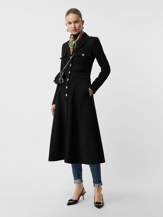 Bonded Cotton Blend Jersey Tailored Coat in Black