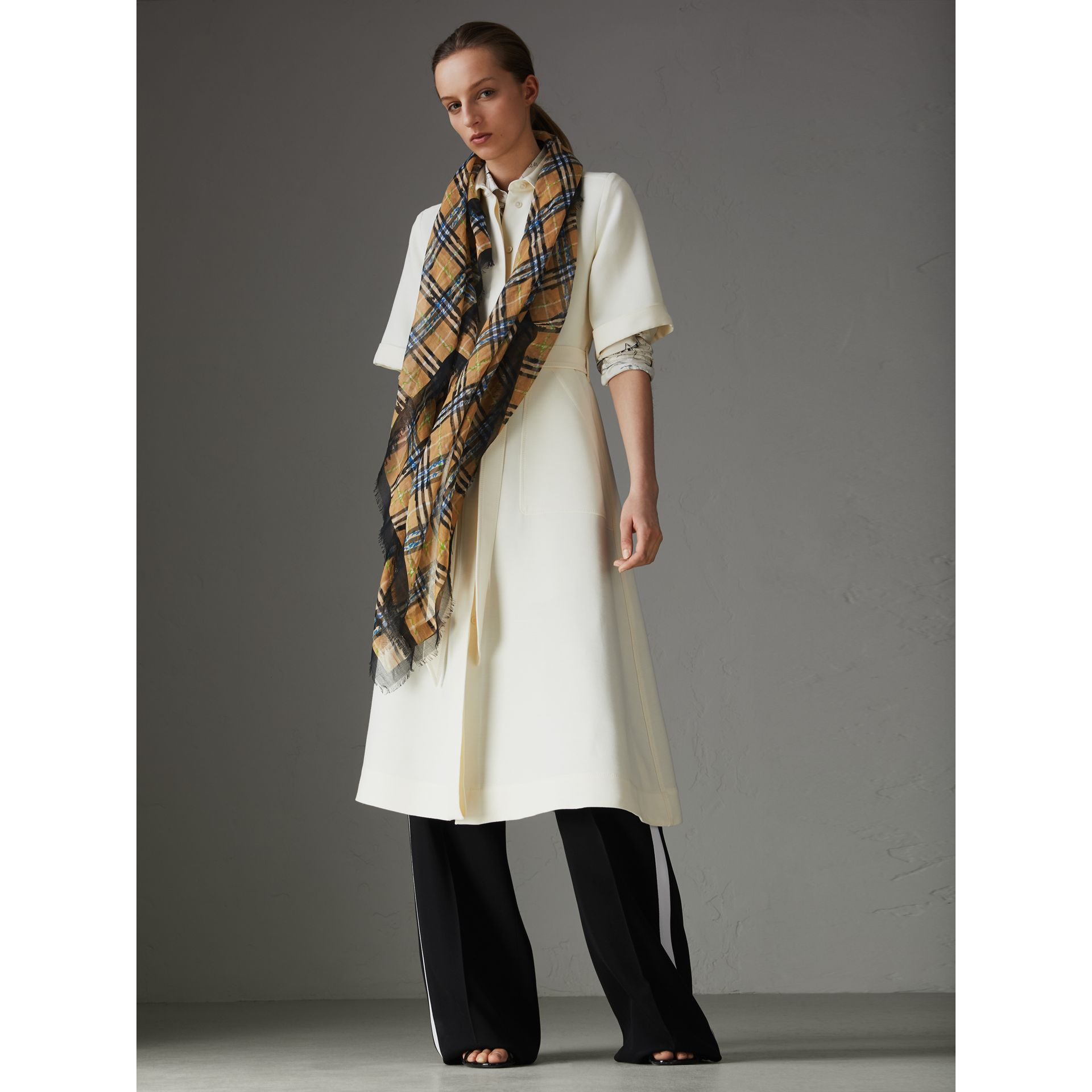 Scribble Check Cotton Large Square Scarf in Antique Yellow | Burberry - gallery image 2