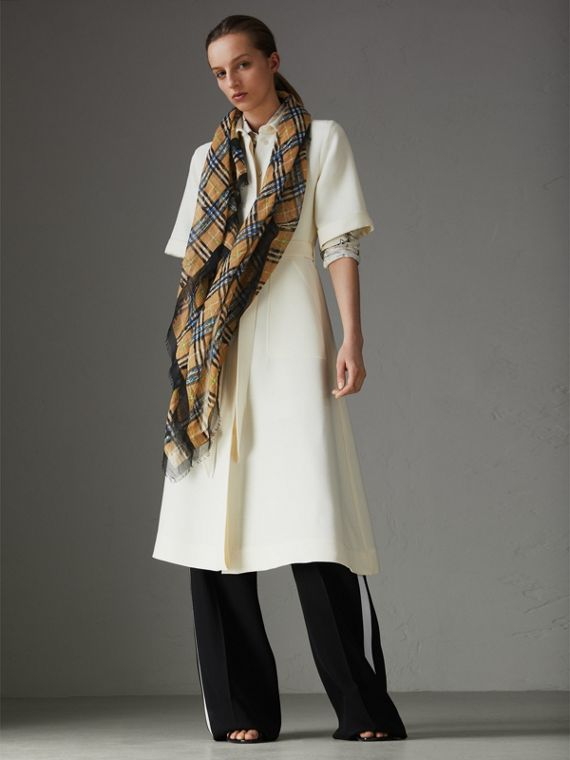 Scribble Check Cotton Large Square Scarf in Antique Yellow | Burberry Singapore - cell image 2