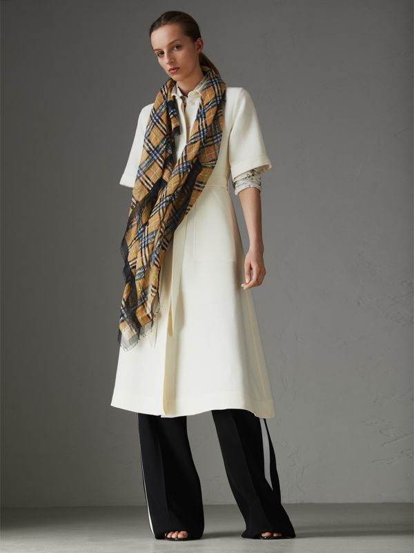 Scribble Check Cotton Large Square Scarf in Antique Yellow | Burberry - cell image 2