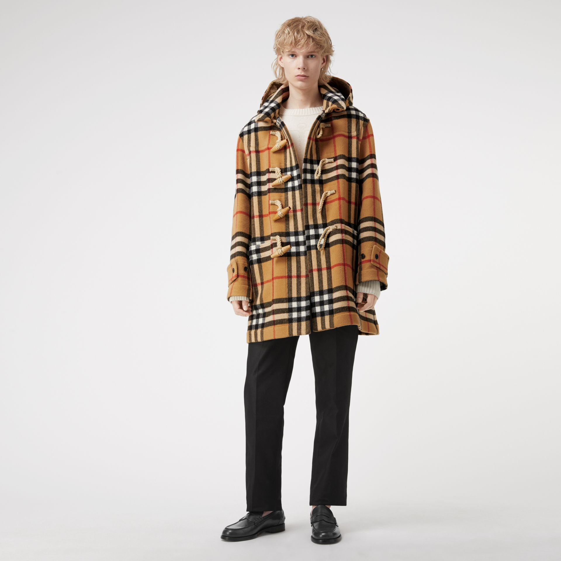 Gosha x Burberry Check Oversized Duffle Coat in Antique Yellow | Burberry Canada - gallery image 0