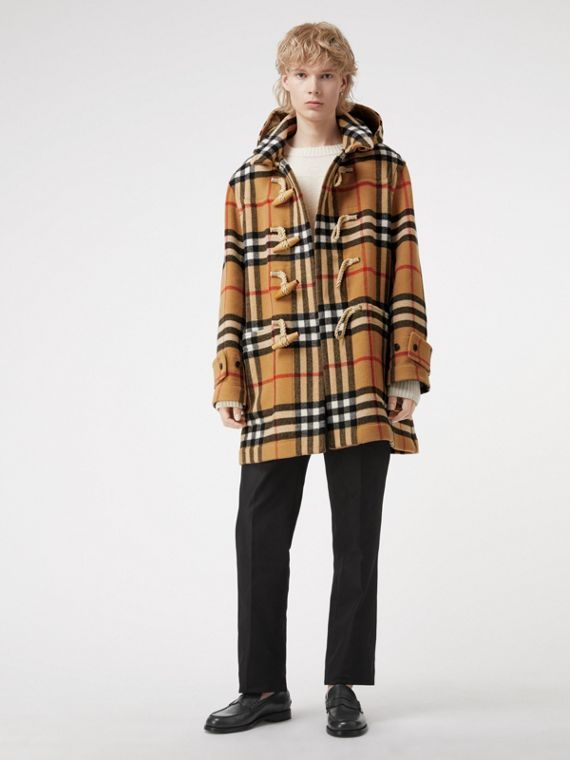 Duffle-coat oversize à motif check Gosha x Burberry (Jaune Antique)