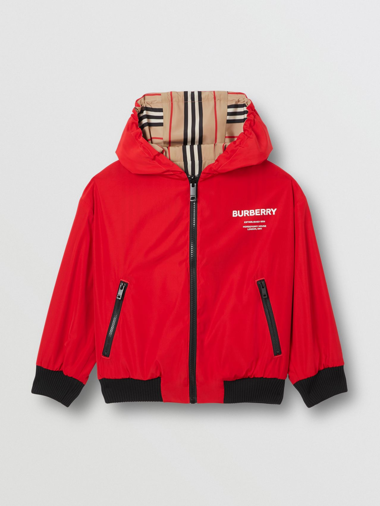 Reversible Icon Stripe Hooded Jacket (Bright Red)